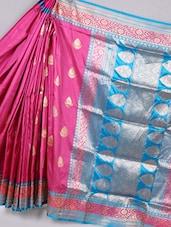 Contrast Pallu Zari Woven Pink Silk Saree - BANARASI STYLE