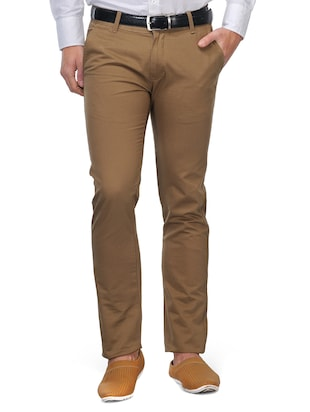 khaki cotton casual trousers