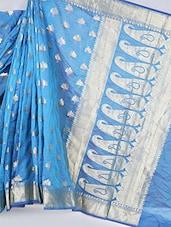 Paisley Jacquard Pallu Cotton Silk Saree - BANARASI STYLE
