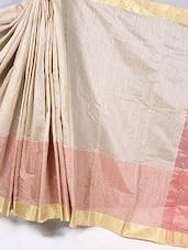 Gold Border Striped Cotton Silk Saree - BANARASI STYLE