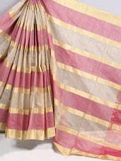Gold & Pink Striped Cotton Silk Saree - BANARASI STYLE