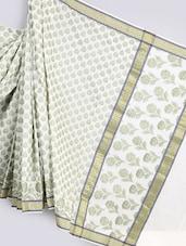 Geometric Border Jacquard Weave Pure Cotton Saree - BANARASI STYLE