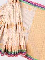 Striped Border Jacquard Weave Pure Cotton Saree - BANARASI STYLE - 1049873