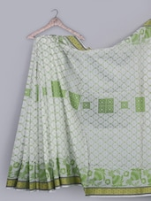 Zari Border Jacquard Weave Pure Cotton Saree - BANARASI STYLE
