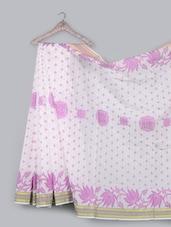 Striped Border Jacquard Weave Pure Cotton Saree - BANARASI STYLE - 1049899