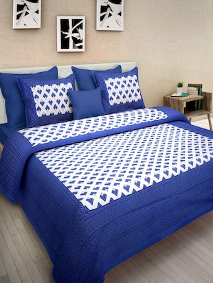 Sanganeri Full Printed Cotton Double Bedsheet With 2 Pillow cover