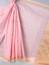 Zari Bordered Baby Pink Super Net Cotton Saree - BANARASI STYLE