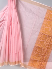 Baby Pink Zari Woven  Super Net Cotton Saree - BANARASI STYLE