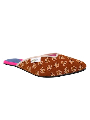 Paaduks Brown Ajrakh Cotton Open Back Slip ons
