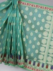 Teal Green Woven Super Net Cotton Saree - BANARASI STYLE