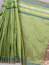 Moss Green Striped Border Cotton Silk Saree - BANARASI STYLE