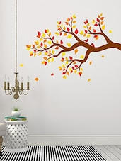 Autumn Tree Branch With Colorful Leaves Multi Color Wall Stickers - By