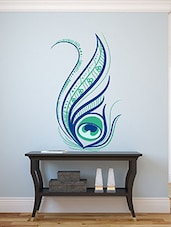Beautiful Stylish Floral Decorated Peacock Feather Multi Color Wall Stickers - By