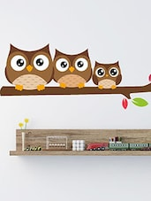 Family Of Owls Sat On A Tree Branch Multi Color Wall Stickers - By
