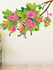 Green Leaf Pink Flowers Background Multi Color Wall Stickers - By