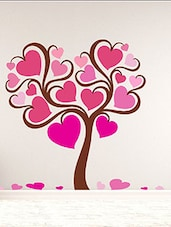 DeStudio Valentine'S Day Tree Pink Heart Multi Color Wall Stickers (Wall Covering Area : 105cm X 90cm) - By