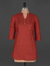 Roll Up Sleeves Pin Tuck Mandarin Collar Cotton Kurti - Indibelle