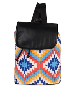 Printed Canvas & leatherette Backpack