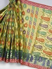 Banarasi Kora Silk Saree In Green - Avishi Saree