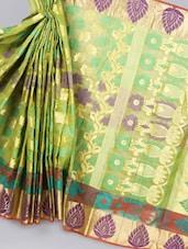 Kora Silk Green Sheer Saree - Avishi Saree