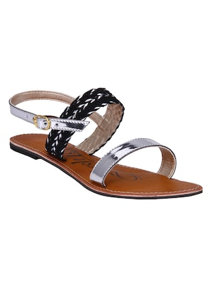 silver leatherette toe seperators sandals -  online shopping for sandals
