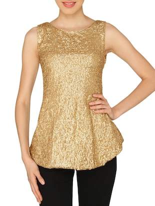 ASHTAG Golden Sequins Peplum Top -  online shopping for Tops