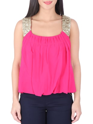 Hot Pink shimmer Top -  online shopping for Tops