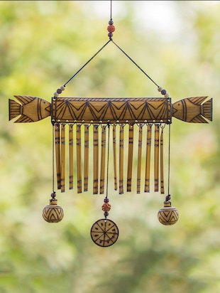 Wooden Handmade Decorative Hanging With Burnt Design