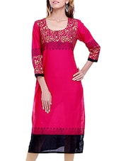 Red Block Printed Cotton Kurta - By