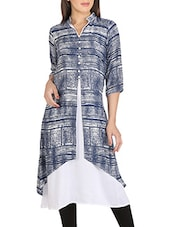 Blue And White Rayon Cotton Kurta - By