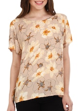Beige Floral Print Polyester Top - Mustard