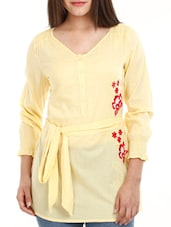 Lemon Yellow Top With Waist Belt - Mustard