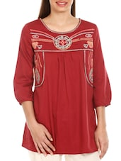 Red Embroidered Cotton Top - Mustard