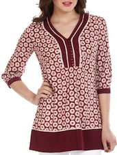 Maroon Printed Cotton Top - Mustard