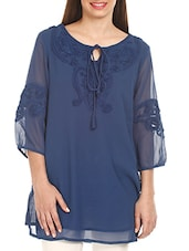 Blue Embroidered Polyester Tunic - Mustard