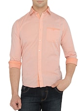 peach cotton casual shirt -  online shopping for casual shirts