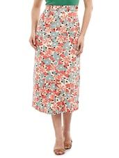 Printed Cotton Lycra Midi Skirt - Mustard