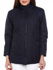 Navy Blue Fleece Quilted Jacket - Mustard