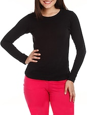 Black Long Sleeves Cotton Top - Mustard