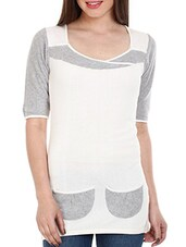 White- Grey Cotton Top With Front Pockets - Mustard