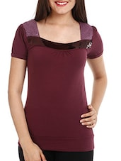 Wine Sequined Embellished Cotton Lycra Top - Mustard