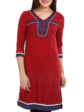 Red & Blue Printed Cotton Kurti - Mustard