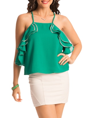 Green ruffled top