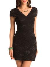 Black Lacy Bodycon Dress - PrettySecrets