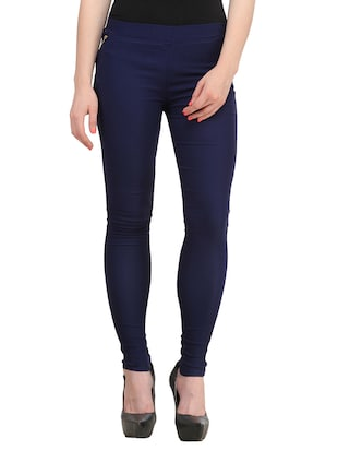 navy blue polyester jeggings
