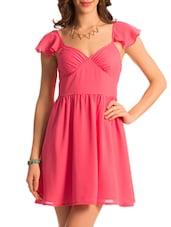 Ruffled Sleeve Pink Solid Dress - PrettySecrets