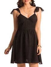 Ruffled Sleeve Black Solid Dress - PrettySecrets