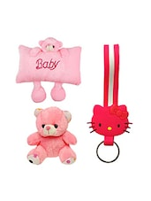 Novel Pink Baby Pillow Cum Soft Toy , 6 Inch Teddy Bear With Kitty Keychain Combo - By