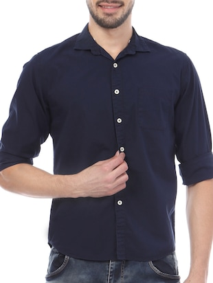 Skie Studio blue Cotton Casual Shirt
