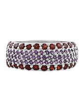 925 Sterling Silver Garnet And Amethyst Studded Ring By Jewellery - By